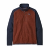 Patagonia Mens Better Sweater 1/4 Zip Barn Red w/ New Navy