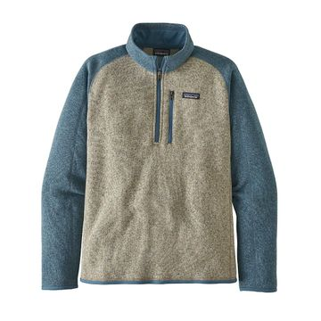 Patagonia Mens Better Sweater 1/4 Zip Bleached Stone w/ Pigeon Blue (Close Out)