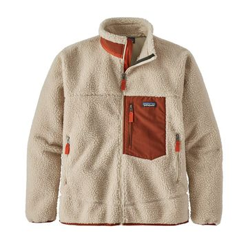 Patagonia Mens Classic Retro-X Jacket Natural w/ Barn Red