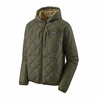 Patagonia Mens Diamond Quilted Bomber Hoody Industrial Green w/ Classic Tan