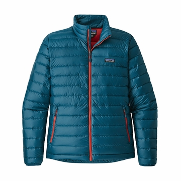 Patagonia Mens Down Sweater Jacket Big Sur Blue w/Fire Red