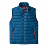 Patagonia Mens Down Sweater Vest Big Sur Blue w/ Fire Red