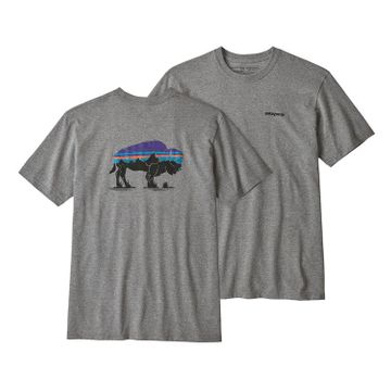 Patagonia Mens Fitz Roy Bison Responsibili-Tee Gravel Heather