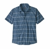 Patagonia Mens Go To Shirt Hemp Stripe: Pigeon Blue