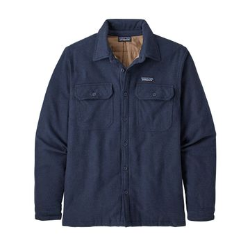 Patagonia Mens Insulated Fjord Flannel Jacket Navy Blue