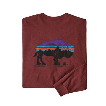 Patagonia Mens L/S Fitz Roy Bison Responsibili-Tee Oxide Red