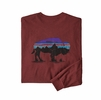 Patagonia Mens L/S Fitz Roy Bison Responsibili-Tee Oxide Red (Close Out)