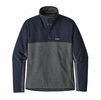 Patagonia Mens Lightweight Better Sweater Marsupial Pullover Forge Grey w/ Navy Blue
