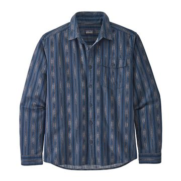 Patagonia Mens Lightweight Fjord Flannel Shirt Ikat Rows: Stone Blue (Close Out)