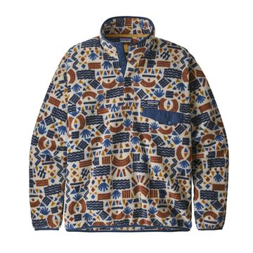 Patagonia Mens Lightweight Synch Snap-T Pullover Protected Peaks Multi Big: Oatmeal Heather