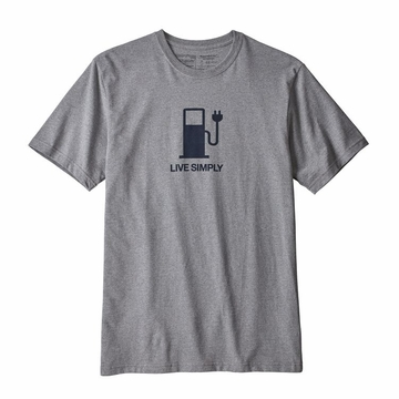 Patagonia Mens Live Simply Power Responsibli-Tee Gravel Heather  (close out)