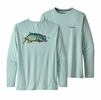 Patagonia Mens Long Sleeve Cap Cool Daily Fish Graphic Shirt Chase: Atoll Blue