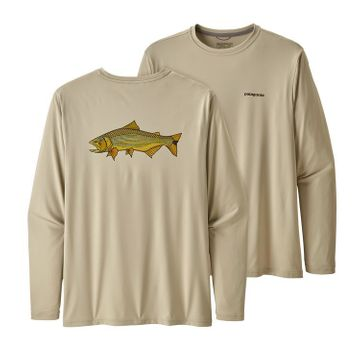 Patagonia Mens Long Sleeve Cap Cool Daily Fish Graphic Shirt Golden Dorado: Pelican