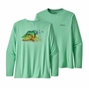 Patagonia Mens Long Sleeve Cap Cool Daily Fish Graphic Shirt Peacock Face: Vjosa Green