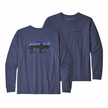 Patagonia Mens Long Sleeve Fitz Roy Bison Resonsibili-Tee Dolomite Blue