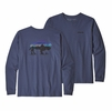 Patagonia Mens Long Sleeve Fitz Roy Bison Resonsibili-Tee Dolomite Blue (close out)