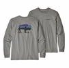 Patagonia Mens Long Sleeve Fitz Roy Bison Resonsibili-Tee Gravel Heather
