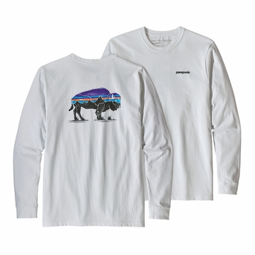 Patagonia Mens Long Sleeve Fitz Roy Bison Resonsibili-Tee White