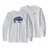 Patagonia Mens Long Sleeve Fitz Roy Bison Resonsibili-Tee White (close out)