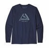 Patagonia Mens Long Sleeve Live Simply Pocketknife Responisibili-Tee Classic Navy  (close out)