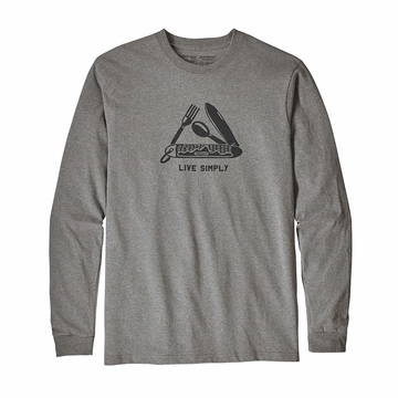 Patagonia Mens Long Sleeve Live Simply Pocketknife Responisibili-Tee Gravel Heather