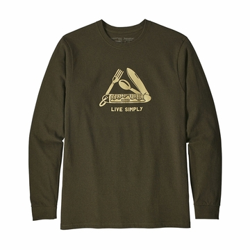 Patagonia Mens Long Sleeve Live Simply Pocketknife Responisibili-Tee Sediment  (close out)