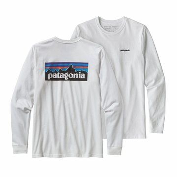 Patagonia Mens Long Sleeve P6 Logo Responsibili-Tee White (Close Out)