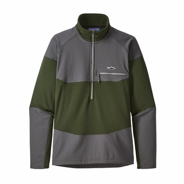 Patagonia Mens Long Sleeve R1 Fitz Roy Zip Nomad Green (Close Out)