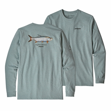 Patagonia Mens Long Sleeve Tarpon World Trout Responsibili-Tee Cadet Blue
