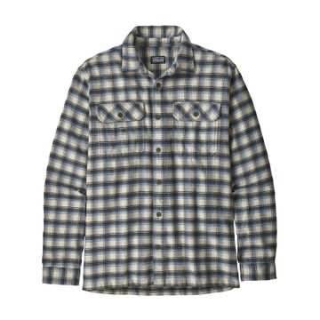 Patagonia Mens Long-Sleeved Fjord Flannel Shirt Castroville: Oyster White (Close Out)