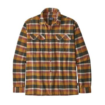 Patagonia Mens Long-Sleeved Fjord Flannel Shirt Observer: Wren Gold