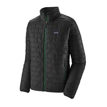 Patagonia Mens Nano Puff Jacket Ink Black w/ Oak Grove Green