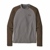 Patagonia Mens P-6 Logo Lightweight Crew Sweatshirt Feather Grey w/ Bristle Brown