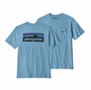 Patagonia Mens P-6 Logo Pocket Responsibili-Tee Break Up Blue (Close Out)