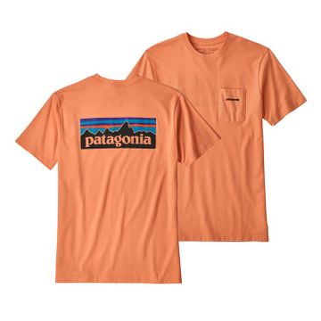Patagonia Mens P-6 Logo Pocket Responsibili-Tee Peach Sherbet (Close Out)