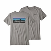 Patagonia Mens P6 Logo Organic T Shirt Feather Grey