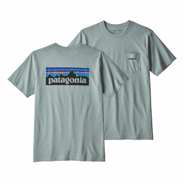 Patagonia Mens P6 Logo Pocket Responsibili-Tee Cadet Blue  (close out)