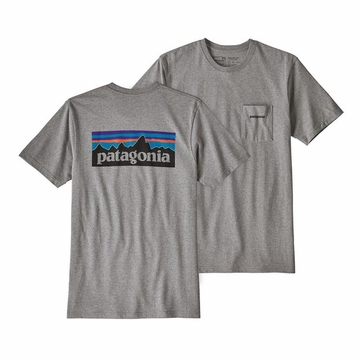 Patagonia Mens P6 Logo Pocket Responsibili-Tee Gravel Heather
