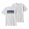 Patagonia Mens P6 Logo Pocket Responsibili-Tee White (Close Out)