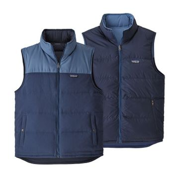 Patagonia Mens Reversible Bivy Down Vest Stone Blue w/ Woolly Blue (Close Out)
