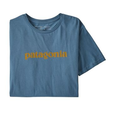 Patagonia Mens Text Logo Organic T-Shirt Woolly Blue