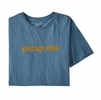 Patagonia Mens Text Logo Organic T-Shirt Woolly Blue (Close Out)