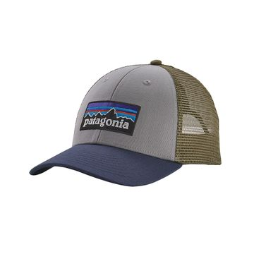 Patagonia P-6 Logo LoPro Trucker Hat Drifter Grey w/ Dolomite Blue (Close Out)