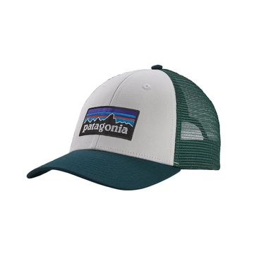 Patagonia P-6 Logo LoPro Trucker Hat White w/ Piki Green (Close Out)