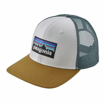 Patagonia P6 Logo Trucket Hat White w/ Kastanos Brown
