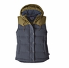 Patagonia Womens Bivy Hooded Vest Smolder Blue w/ Fatigue Green