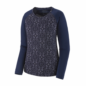 Patagonia Womens Capilene Midweight Crew Arctic Ox Geo: Classic Navy
