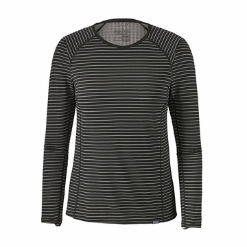 Patagonia Womens Capilene Midweight Crew Retro Stripe: Black (Close Out)