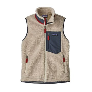 Patagonia Womens Classic Retro-X Vest Natural w/ Smolder Blue (Close Out)