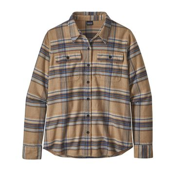 Patagonia Womens L/S Fjord Flannel Shirt Cabin Time: Bearfoot Tan (Close Out)